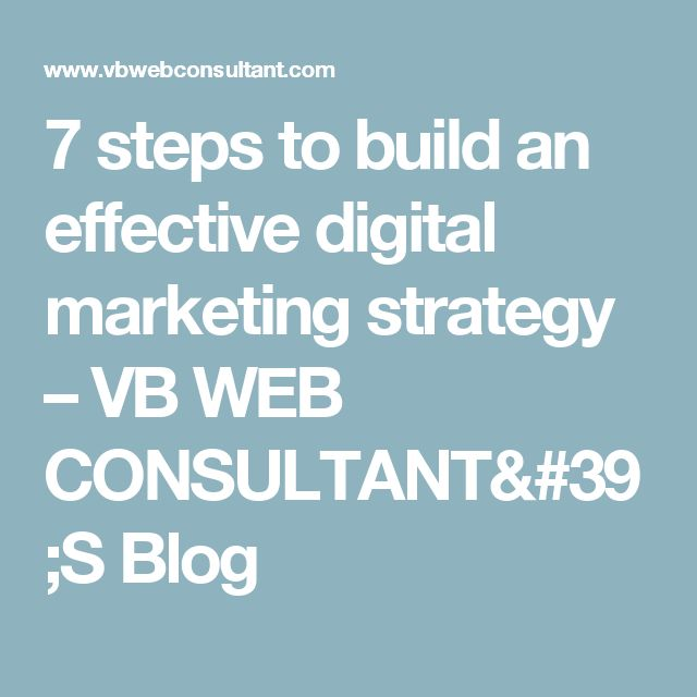 7 steps to build an effective digital marketing strategy – VB WEB CONSULTANT'S Blog