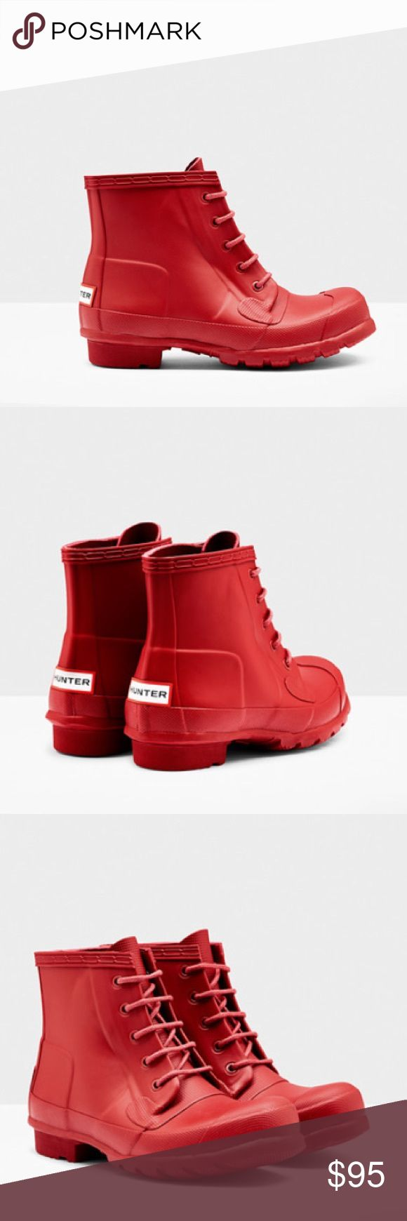 Hunter Ankle Rubber Short Boots Gorgeous red short ankle boots by Hunter Boots, with a Lace Up front. They are amazing! Hunter Boots Shoes Winter & Rain Boots