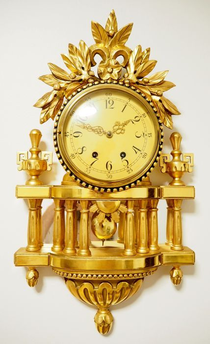 Currently at the #Catawiki auctions: Swedish hand carved gilt-wood Rococo style Cartel wall clock -  Approx 1930 -...