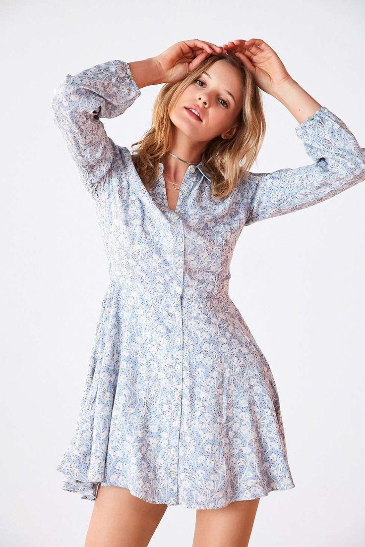 Kimchi Blue Sabrina Floral Long-Sleeve Mini Shirt Dress - Urban Outfitters