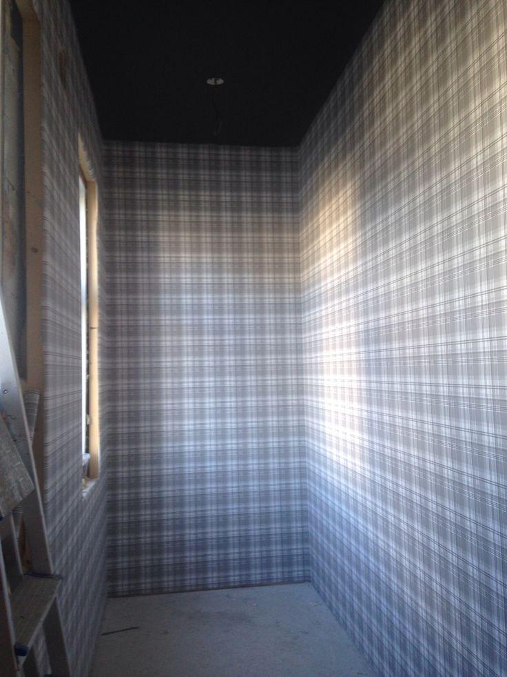 Wardrobe - wallpaper -plaidpattern - dark ceilings