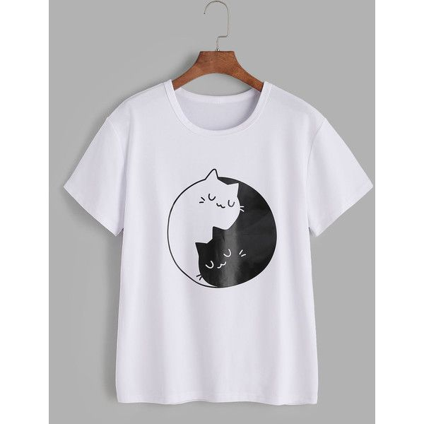 151527c222 SheIn(sheinside) Cats Print Tee ($10) ❤ liked on Polyvore featuring tops, t- shirts, white, cat print t shirt, cotton blend t shirts, white cat t shirt,  ...