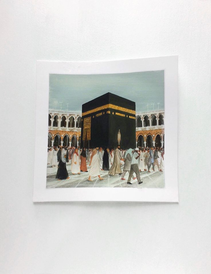 #Makkah <3 ya #Allah let me visit your holy mosque more often! #labbaykAllah. Art by Zainab Rizvi @z.rizvi #mecca #gouache #painting #islam #art #mosque