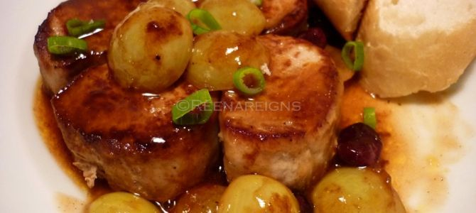 Pork Medallions with Grapes and Cranberry Sauce