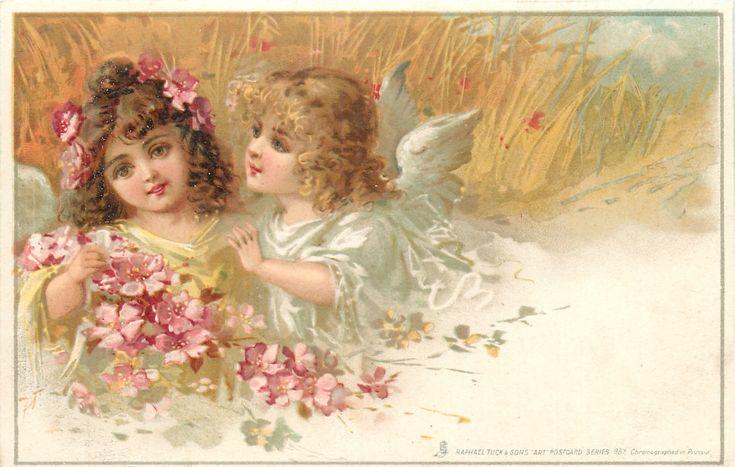 Винтажные открытки ангел, февраля