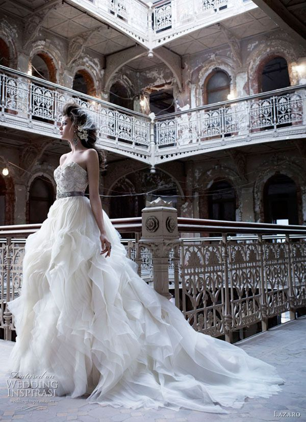Great style if you have a pear-shape body and tall. Lazaro wedding dresses fall 2011 style lz3153