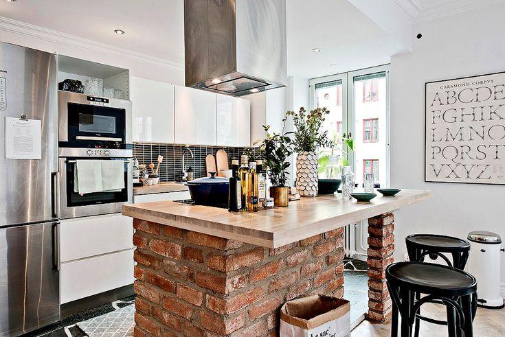 Дизайн маленькой квартиры: кухня остров  http://goodroom.com.ua  #Kitchen #Dining_Room #Bar_Stools #Interiors