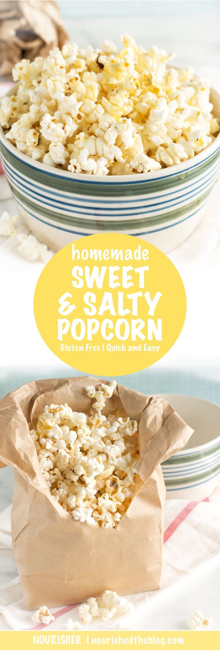 Freshly popped popcorn drizzled with butter and honey and vanilla and sea salt is the ultimate in sweet and salty. This popcorn snack is super easy to make and gluten free too! Click for this DIY microwave popcorn recipe.