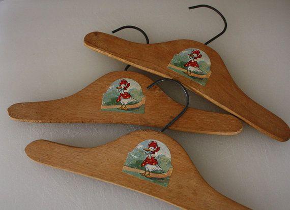vintage wooden child s clothes hangers w goose 3