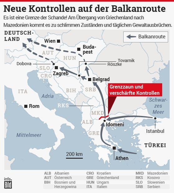 BILD Infografik: Neue Kontrollen auf der Balkanroute