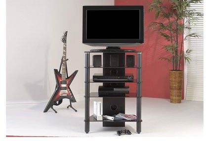 "Jual Furnishings JF005 All Black Glass TV Hi-Fi Stand 28"".     Suits 28"" LCD/Plasma TV     Carries up to 85kg     10mm Toughened Safety Glass shelf     5 Shelves     Shelf pitch 250mm, 3 x 150mm     6mm Lower Shelves     Cable Management Facility     Black Glass     All of our black glass TV stands are compatible with most popular brands of television.  Dimensions: 610mm (w) x 400 (d) x 870 (h) mm. JF005."
