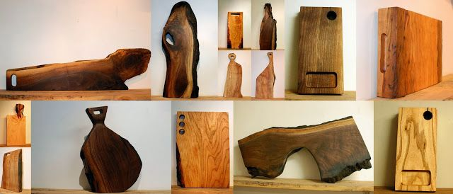 Studio50, a collage of cutting boards, serving platters and trenchers, in walnut, ash, cherry and spalted maple.