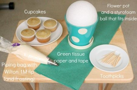 How to make a cupcake bouquet: You'll need: cupcakes, frosting, a piping bag, Wilton 1M tip (or a similar open star tip), green tissue paper, clear tape, flower pot, styrofoam ball, and toothpicks. (Michaels)