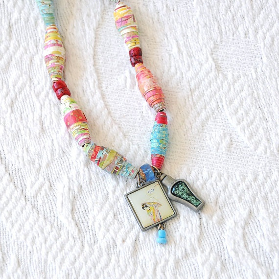Recycled Paper Bead Necklace with Geisha Charm