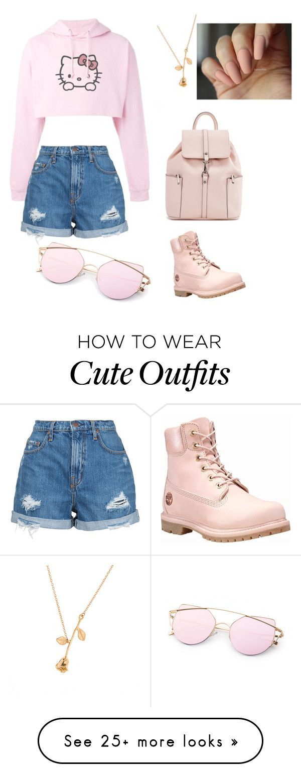 """""""Cute Pink Outfit"""" by trixielop on Polyvore featuring Hello Kitty, Nobody Denim and Timberland #timberlandoutfits"""