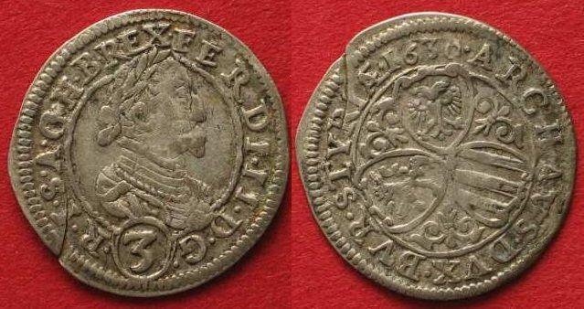 1630 Haus Habsburg RDR - GRAZ Groschen (3 Kreuzer) 1630 FERDINAND II. Silber # 90170 ss+