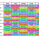"Use this color-coded schedule to help your five groups navigate through Daily 5 Rotations.  The ""meet with teacher"" time is built in to facilitate ..."