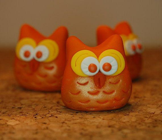 polymer clay owl candy corn for halloween door SMarrtCreations