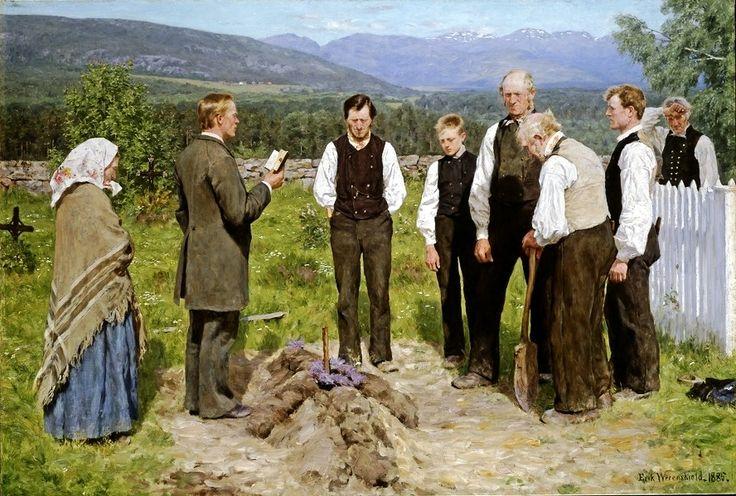 Erik Werenskiold (1855-1936) - The Funeral,1885.