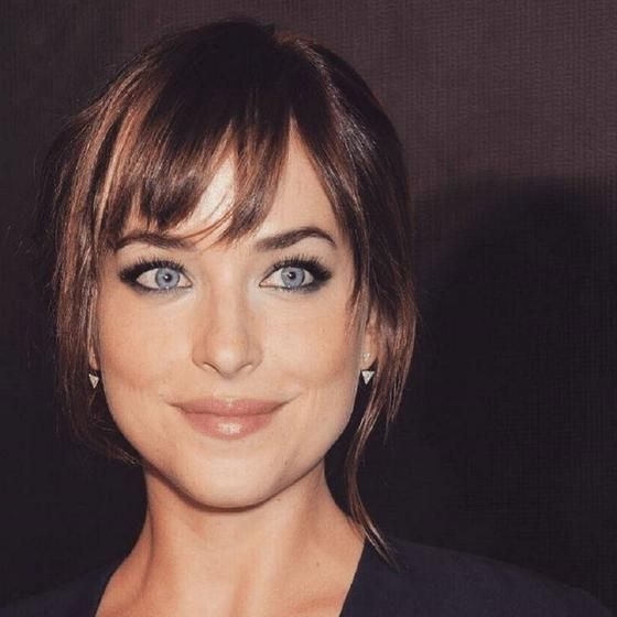 If you've wanted to try bangs, now is a great time to do so! Fifty Shades Of Grey actress Dakota Johnson has very piecey, airy bangs that look great on her face.