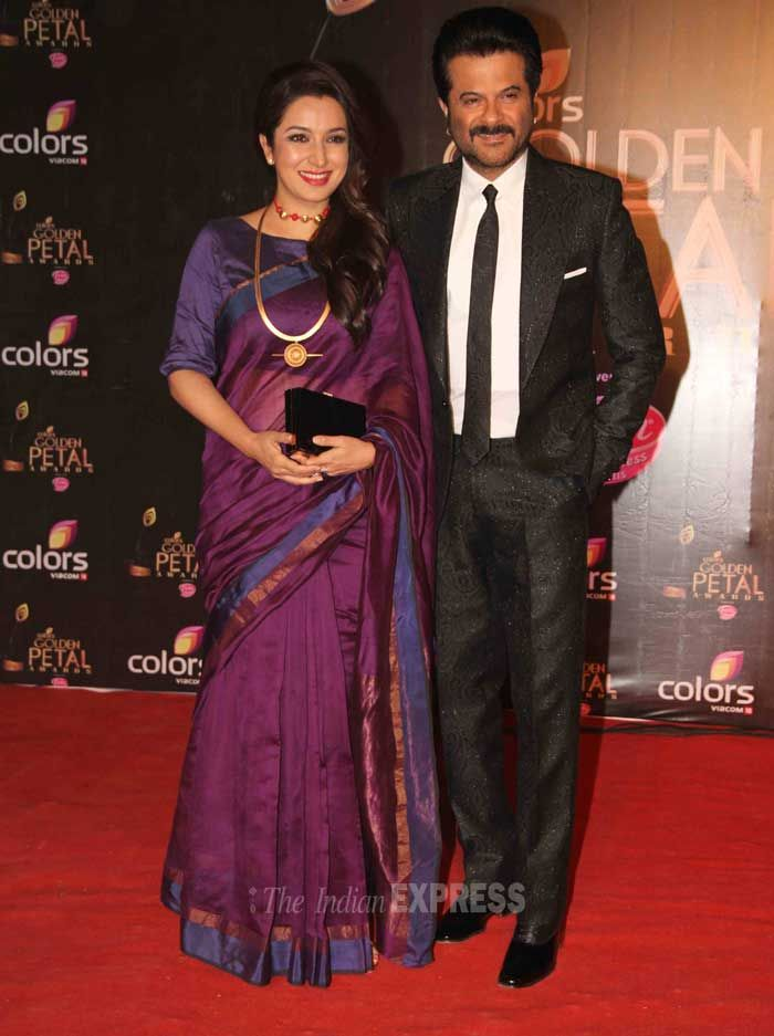 Anil Kapoor came with his on-screen wife and actress Tisca Chopra at the third edition of the Colors Golden Petal Awards. #Fashion #Style #Bollywood #Beauty
