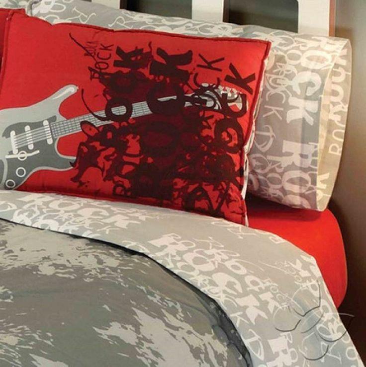 11 best dallas 39 room images on pinterest teen boys for Guitar bedding for boys