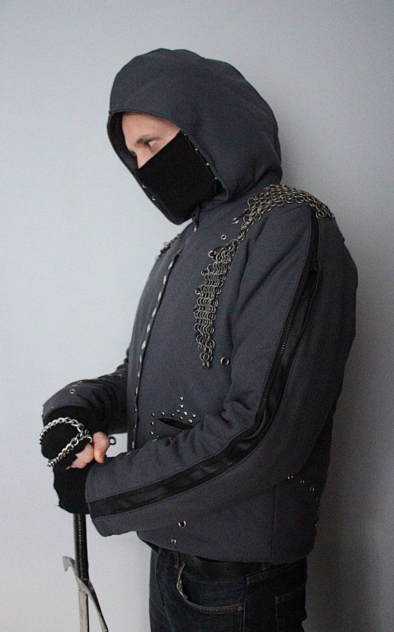 Chainmail Assassin's Rock - Metal - Goth Winter Men's Jacket - L