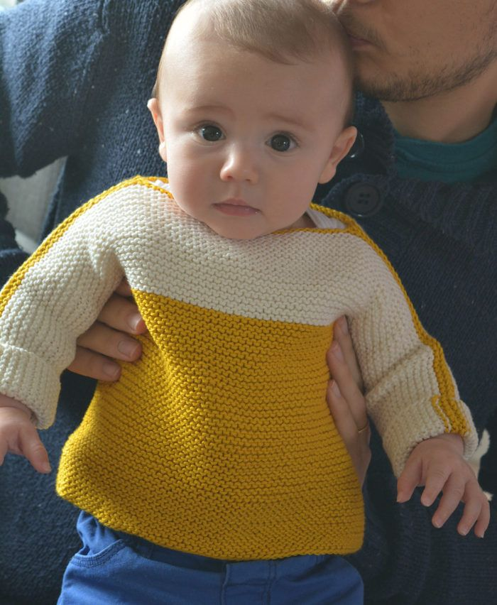 Free Knitting Pattern for Easy Macaron Baby Sweater