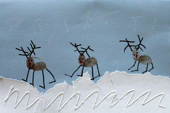 Fingerprint Reindeer Christmas Cards and other Christmas crafts for kids.