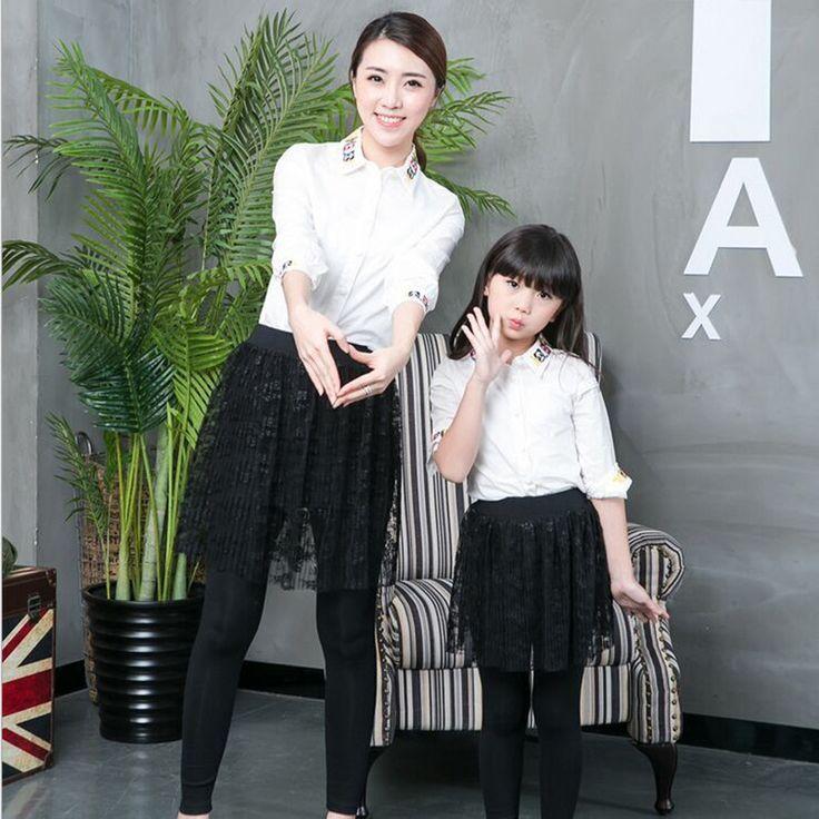Семья одежда матери-дочери наряды семья взгляд мать и дочь кружева хлопковые брюки юбка соответствия мать дочь одежда