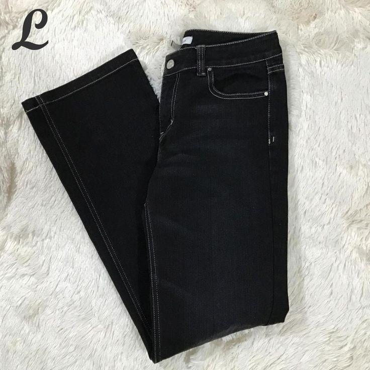 White House Black Market Womens Jeans Bootcut Midrise Dark Wash Blanc Size 4R #WhiteHouseBlackMarket #BootCut