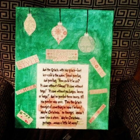 The Grinch quote on canvas
