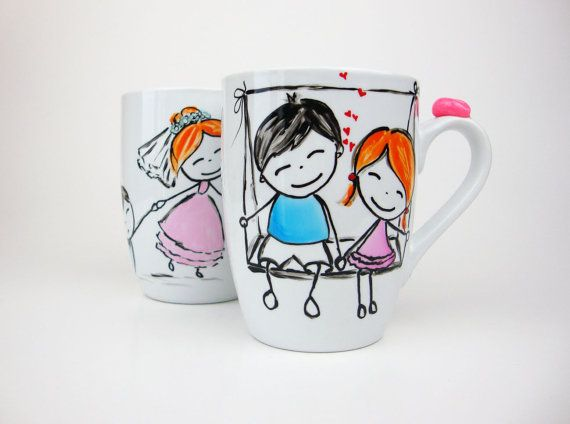 Anniversary Gift Mug Set Couples Wedding Gift Mug by doodleNart