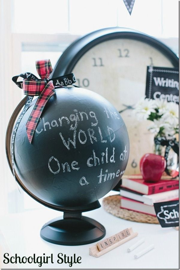 """Chalkboard globe for the classroom.  """"Changing the WORLD one child at a time.""""  www.schoolgirlstyle.com"""