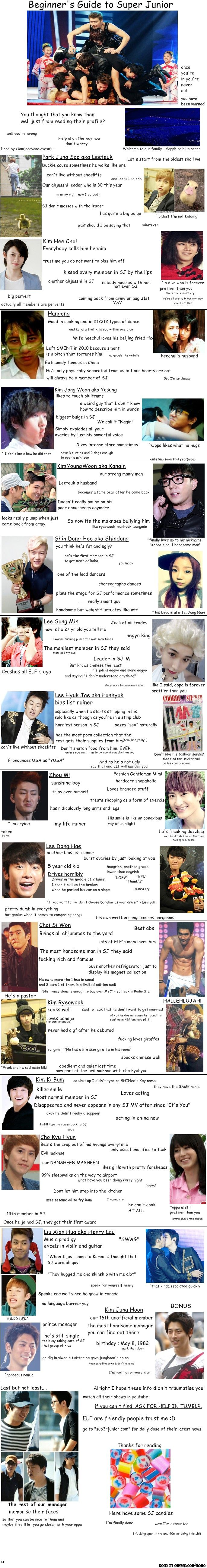 Super Junior was my first band when I found K- Pop! I love them :) I wouldn't change that for anything! <3  Love how they included Prince Manager. All of it is pretty much true, no lie