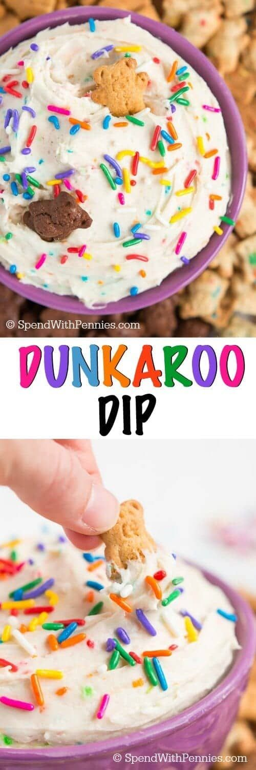 Relive the 90's with Dunkaroo Dip! With just three ingredients and three minutes you could be dunking your cookies in yummy funfetti frosting.