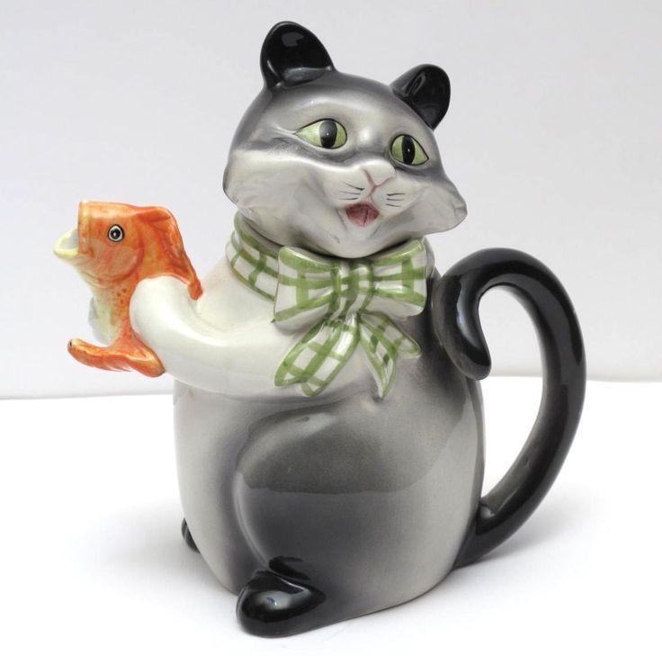 <b>Vintage</b> Teapot <b>Porcelain Ceramic</b> China Cat Holding A Gold Fish ...