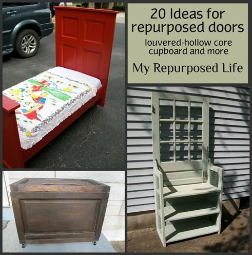 My Repurposed Life-20 ideas for repurposing old doors of all kinds, including cupboard, bifolding and armoire doors.