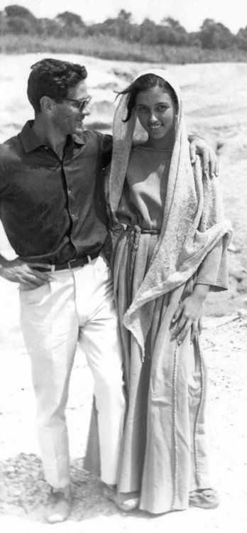 Pier Paolo Pasolini and Margherita Caruso on the set of The Gospel According to St. Matthew (1964)
