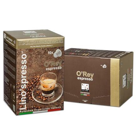 O'Rey espresso: Miscelando le più pregiate tipologie di caffè Arabica proveniente dalle migliori piantagioni dell' America Latina e Centrale e dell' Africa, e seguendo un particolare ed accurato procedimento di tostatura, si ottiene un blend dal gusto classico, molto equilibrato e consistente.