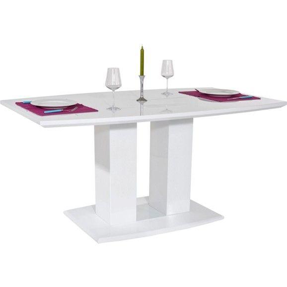 Étkezőasztal, magasfényű fehér MDF lappal, terhelhetőség: kb. Max. 60 kg-ig, Szé/Ma/Mé: kb. 160/76/90cm