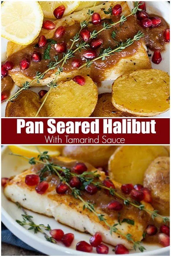 Pan-seared Alaska halibut with tamarind sauce is a ... Alaskan Halibut Dish