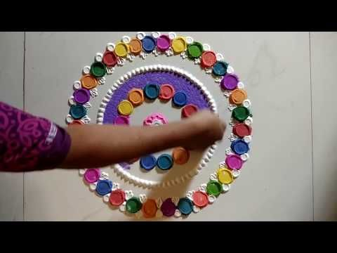 Rangoli is made with Utensil, Bangle and chalk. - YouTube