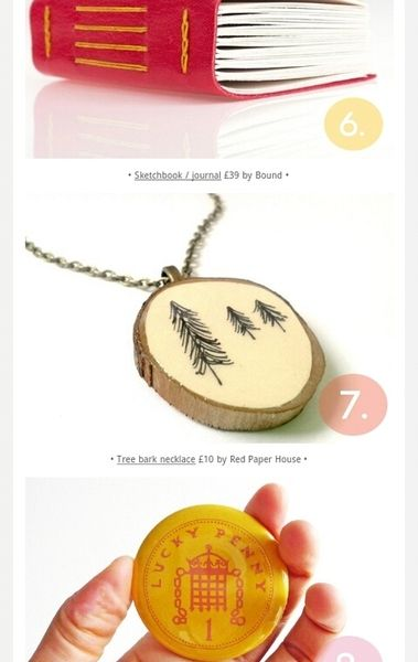 Illustrated Tree Necklace featured in the Folksy Top Ten Last Minute Christmas Gifts Countdown Newsletter December 2013