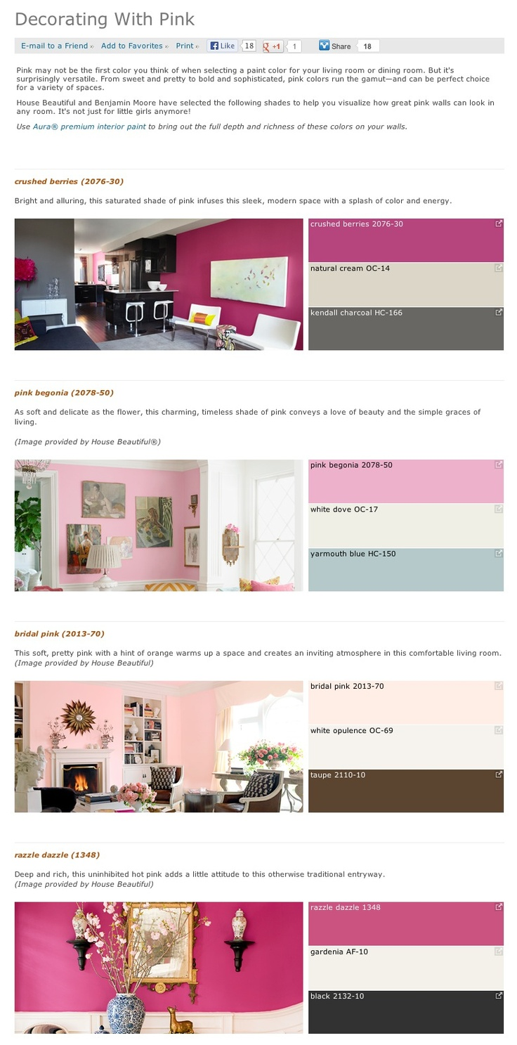 Favorite, popular, & best selling shades of pink interior paint color palettes from Benjamin Moore.