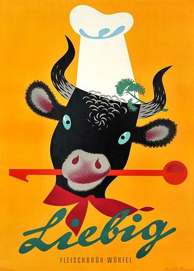 Poster by Donald Brun, 1949, Leibig bullion. #Cow #Toque