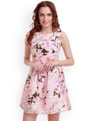 SASSAFRAS Pink Floral Print Silk Skater Dress