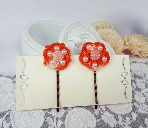 #hairpins #bobbypins #hairclips #flowerpins #crochetpins #hairjewelry #hairaccessories #orangejewelry by Rocreanique on Etsy