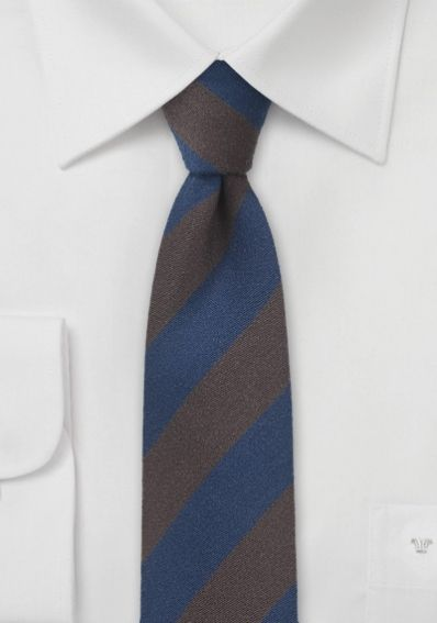 Krawatte breite Streifen navyblau dunkelbraun