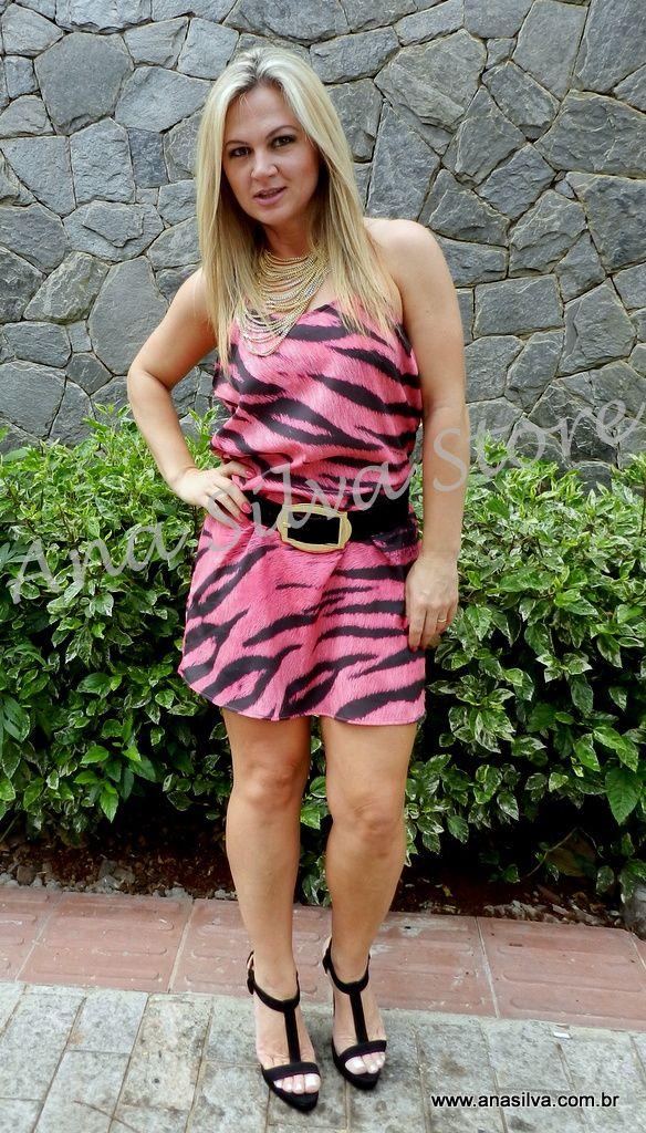 Vestido tigrado pink - Lança Perfume